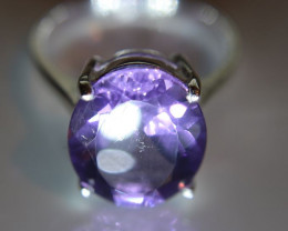 Amethyst 4.86ct Platinum Finish Solid 925 Sterling Silver Ring Size 7
