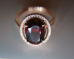 Spessartine 6.30ct Rose Gold Finish Solid 925 Sterling Silver Halo Ring Adj