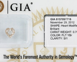 0.70ct Natural Fancy Yellow Brown Diamond GIA certified  heart SI1