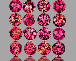 2.30 mm Round Machine Cut 16 pcs Red Pink Sapphire [VVS]