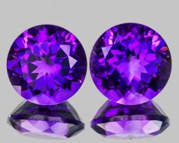 11.00 mm Round 2pcs 9.35cts Intense Purple Amethyst [VVS]
