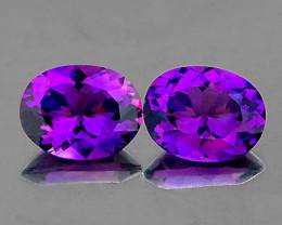 12x10 mm Oval 2 pcs 9.35cts Intense Purple Amethyst [VVS]