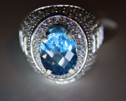 Blue Topaz 4.69ct Platinum Finish Solid 925 Sterling Silver Cocktail Ring S