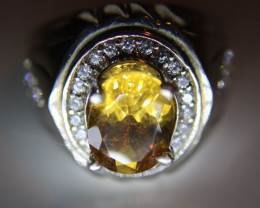 Citrine 2.30ct Platinum Finish Solid 925 Sterling Silver Ring Size 8