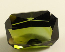 Green Tourmaline Gemstone with unique facets