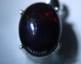 Black Opal 8.90ct Platinum Finish Solid 925 Sterling Silver Pendant