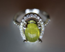 Cats Eye Green Yellow Apatite 3.47ct Platinum Finish Solid 925 Sterling Sil