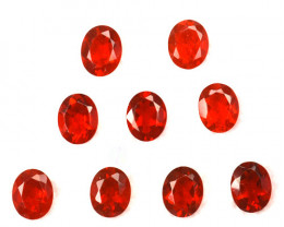 ~FIERY RED~ 2.11 Cts Natural Mexican Fire Opal 5x4mm Oval Cut 9Pcs