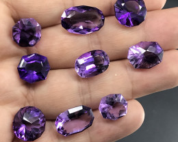 62 Carats Fancy Cut Natural Amethyst Gemstones Parcel