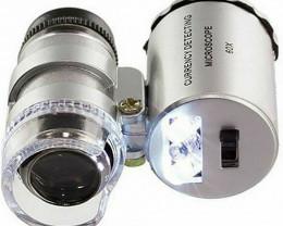60x LED Mini Jeweller Light Pocket Microscope Jewelry Magnifier Loupe