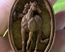 Carved Cameo Horse  in Wood with Jasper Pendant Bead