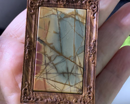 Carved Wood Frame with Picasso Jasper Pendant Bead