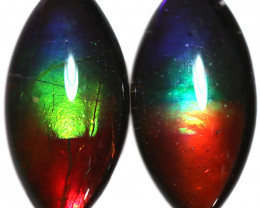 1.948 CTS  9x7 MM  AMMOLITE TRIPLET PAIR 3 COLOURS-SEE VIDEO   [STS1721]