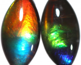 1.881 CTS  10x5 MM  AMMOLITE TRIPLET PAIR 3 COLOURS-SEE VIDEO   [STS1727]