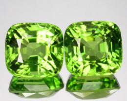~PAIR~ 22.65 Cts Rarest Natural Green Peridot Cushion Cut Brumese