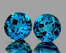 7.00 mm Round 2 pcs 3.09cts London Blue Topaz [VVS]