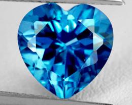 7.00 mm Heart 1.37cts London Blue Topaz [VVS]