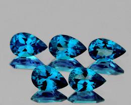8x5 mm Pear 5 pcs 4.93cts London Blue Topaz [VVS]