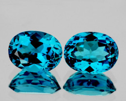 11x9 mm Oval 2 pcs 10.03cts London Blue Topaz [VVS]