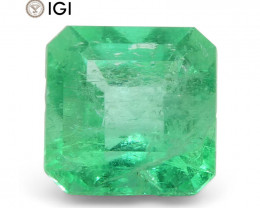 1.25 ct Square Emerald IGI Certified Colombian with Inscription