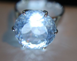 Aquamarine 15.24ct Solid 18K White Gold Solitaire Ring Size 8