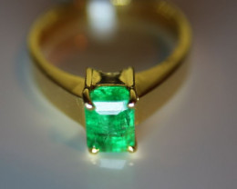 Columbian Emerald 1.75ct Solid 18K Yellow Gold Solitaire Ring Size 7