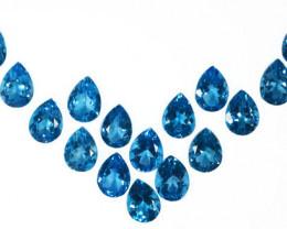 ~SET~ 214.00 Cts Natural Sky Blue Topaz 18x13mm Pear Cut 16Pcs Brazil