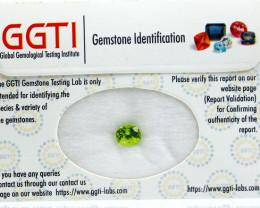 GGTI-Certified-1.55 ct Green Peridot Gemstone Natural