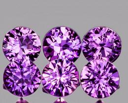 3.10 mm Round 6 pcs Unheated Pinkish Purple Sapphire [VVS]