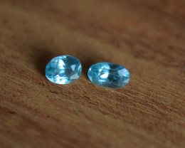 2.5ct pair VVS SkyBlue Zircon - Heat -