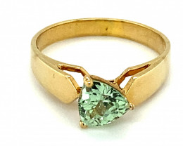 Merelani Mint Garnet 1.06ct Solid 18K Yellow Gold Solitaire Ring Size 7
