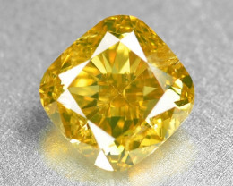 0.86 Cts Untreated Natural Fancy  Vivid Greenish Yellow Color  Loose Diamon