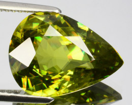 ~DAZZLING~ 6.37 Cts Natural Beautiful Green Sphene Pear Cut Russia