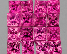 2.30 mm Square 12 pcs Intense Pink Sapphire [VVS]