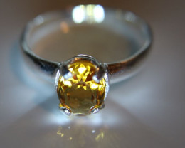 Madeira Citrine .75ct Platinum Finish Solid 925 Sterling Silver Solitaire R