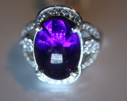 Amethyst 6.57ct Platinum Finish Solid 925 Sterling Silver Ring      Size 7.