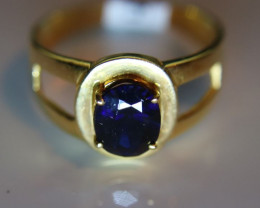 Royal Blue Sapphire 1.67ct Solid 21K Yellow Gold Solitaire Ring    Size 8.0
