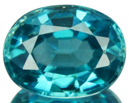 1.63 Cts Natural Sparkling Blue Zircon Oval Cut Cambodia