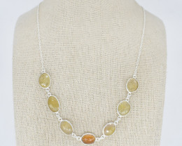 YELLOW SAPPHIRE NECKLACE NATURAL GEM 925 STERLING SILVER JN148