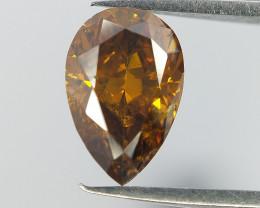 Orange Natural diamond , Rare Pear Brilliant Cut Diamond , 0.56 cts
