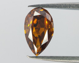 Yellowish Orange Cognac Diamond , Pear Modified Brilliant Cut , 0.29 cts