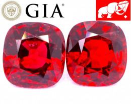 GIA & GFCO 3.21 CT VIVID Red Spinel Pair (BURMA)   $4,250   FREE SHIPPING!