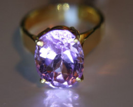Pink Kunzite 7.62ct Solid 22K Yellow Gold Solitaire Ring     Size 6