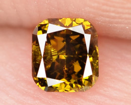0.19 Cts Untreated Natural Fancy Honey Color Loose Diamond