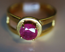 Burmese Ruby 1.45ct Solid 21K Yellow Gold Solitaire Ring     Size 7