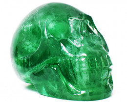 Genuine 2285.00 Cts Green Fluorite Carved Human SKull