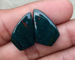 GENUINE BLOODSTONE GEMSTONE PAIR Natural+Untreated VA868