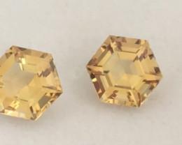 Pretty Precision Cut Hexagonal Golden Yellow Citrine Pair
