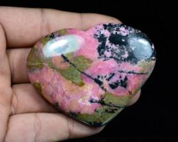 689 Ct Polished Heart Shape Rhodonite From Pakistan