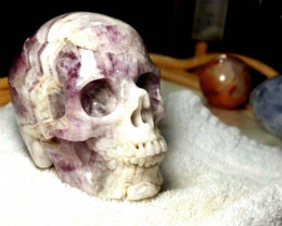 5630.0 Tcw. Amethyst Hand Carved Skull - 5 Inches